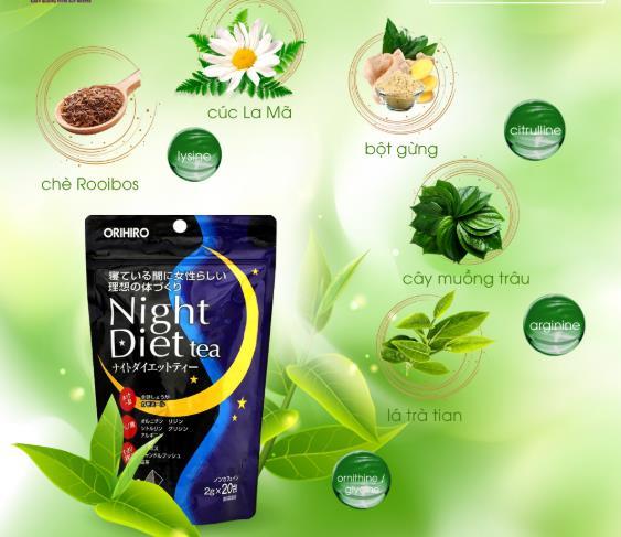 Chiết xuất tự nhiên của trà giảm cân Night Diet Tea
